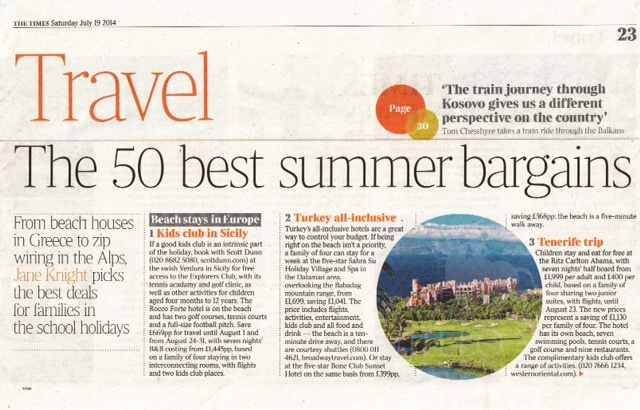 Trujillo Villas featured in The Times 50 best bargain holidays this summer