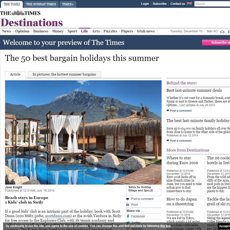 The Times Travel – 28th July 2014
